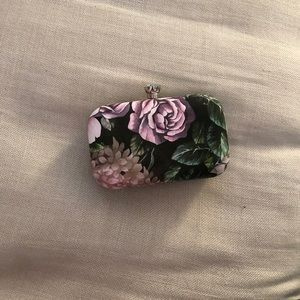 Floral clutch with diamond accent